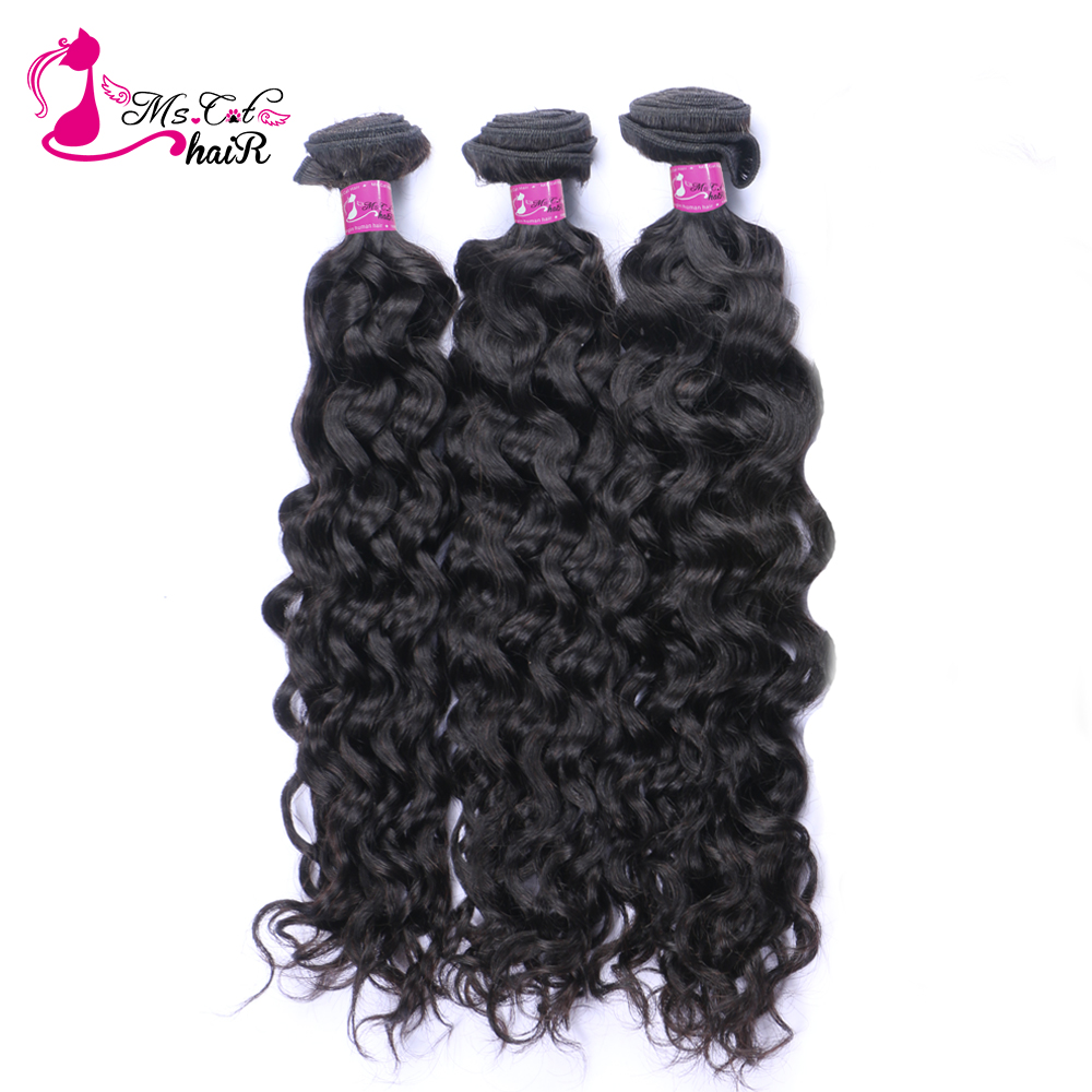 Ms Cat Malaysian Water Wave 3 Bundles Deals 100% Human Hair Weave Bundles Thick Hair extensions NonRemy Hair Weaving Free Ship