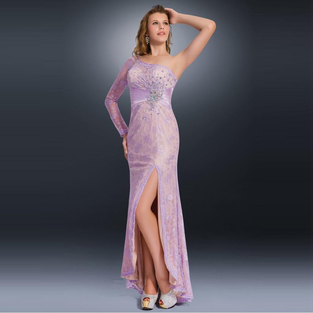 Single Long Sleeve Sheer Lace 2017 Purple Evening Dresses Sexy Long