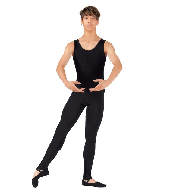 0379f6c35829 One Piece Round Neck Adult Black Spandex Tank Unitard for Men Full Body  Dance Class Costume Gymnastics Dance Unitard