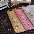 Luxury brand Gold Bling Glitter wrist plastic hard Phone Case Back Cover For iPhone 7 6 6S Plus new hot selling