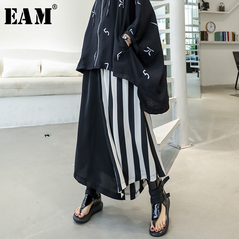 [EAM] 2019 New Spring Summer High Elastic Waist Loose Black Hit Color Striped Split   Wide     Leg     Pants   Women Trousers Fashion JU710