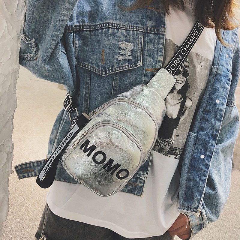 Hot 1PC Stylish Women Waist Bag PU MOMO Printed Solid Color Chest Bag For Outdoor Sport BVN66