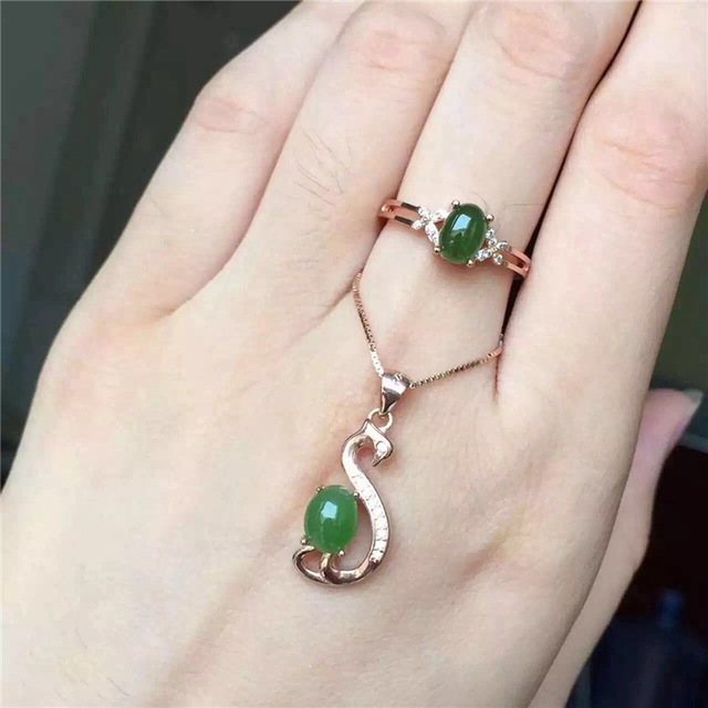 Natural jade set inlaid jewelry wholesale S925 silver free postage