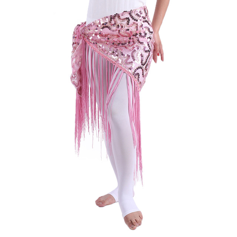 Cheap Belly Dance Clothes Women Dancewear Long Fringe Hand Crochet Triangle Belt Belly Dance Hip Scarf Sequins