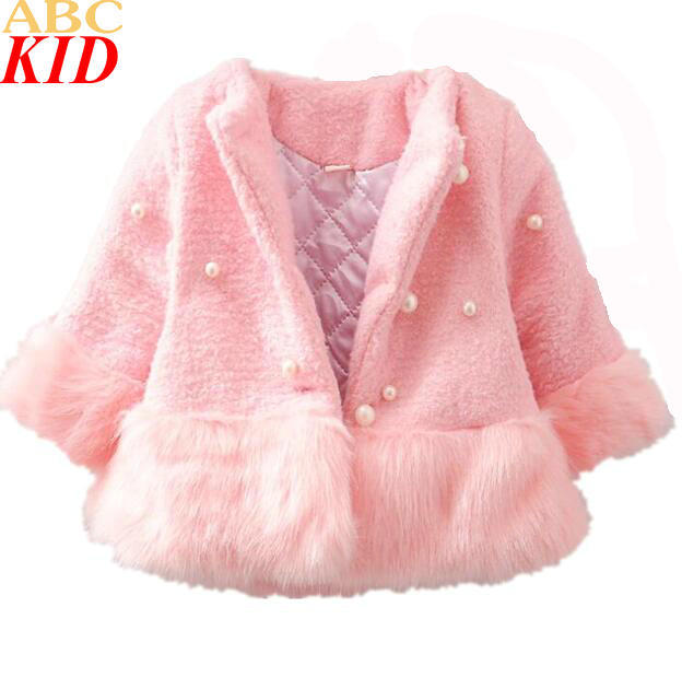2017 New Year Baby Girls Faux Fur Coat Princess Luxury Elegant Pearl Outerwear Winter Warm Coat Children Winter Coat KC202