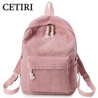 CETIRI School Backpack Bags For Teenage Girls Backpack Women Bagpack Female Bolsa Escolar Kawaii Corduroy Bookbag