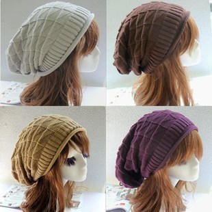Unisex Women Winter Plicate Baggy Beanie Diamond Knit Crochet Ski Cap Oversized Slouch Hat GJ3211