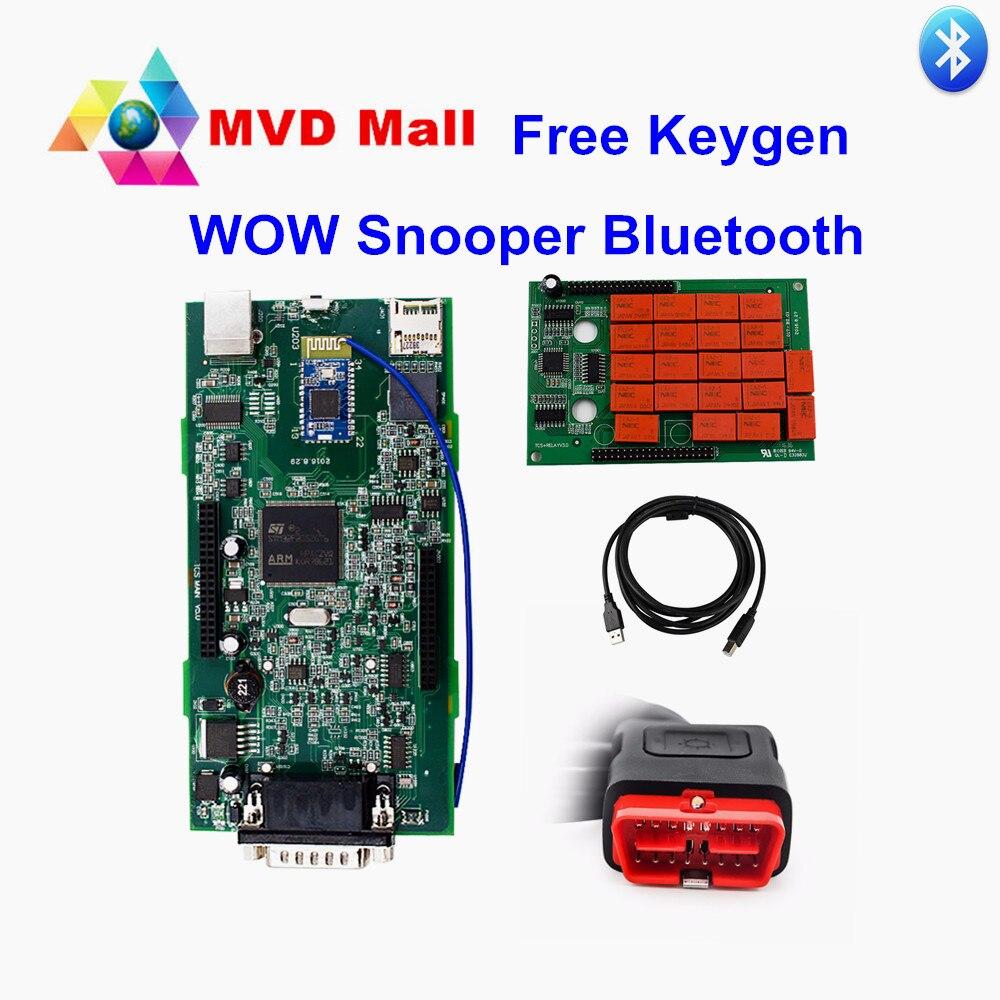 Prix pour WOW Snooper V5.008 Avec Livraison Keygen TCS CDP PRO Bluetooth Adaptateur Universel Outil De Diagnostic Support Voiture-Marque Jusqu'à 2016