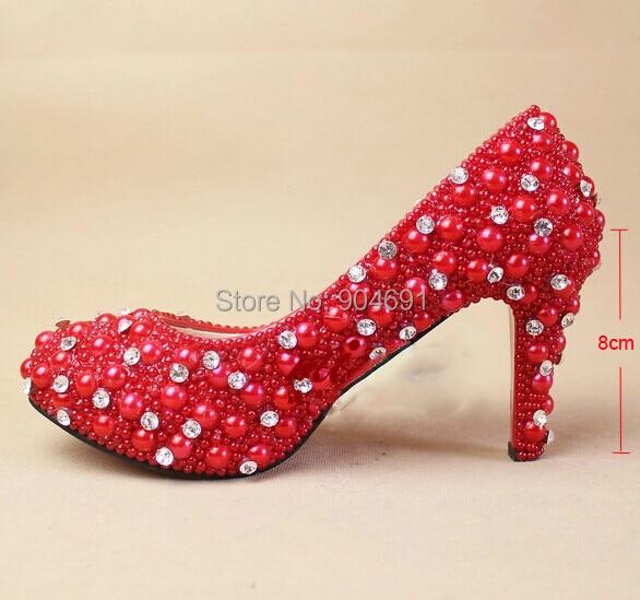 Hot Sale Red Beautiful High Heels Luxury Rhinestone Shoes