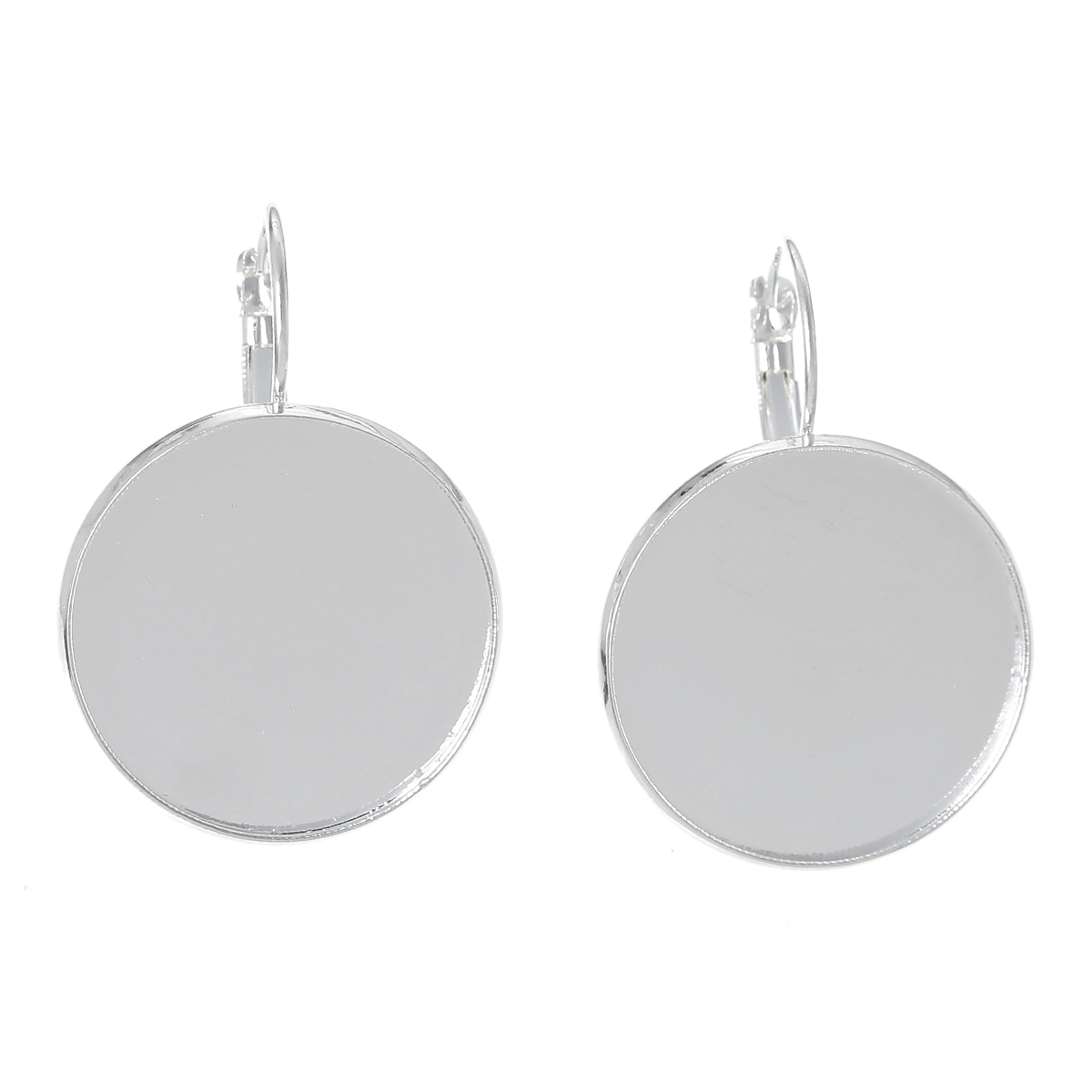 Copper Earring Clip Findings Round Silver Plated Cabochon Settings(Fits 25mm)38mm(1 4/8)x 27mm(1 1/8),10 PCs