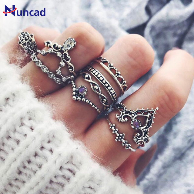 2017 Vintage Purple Stone Ring Set Hollow Out Rings Crown Knuckle Ring for Women