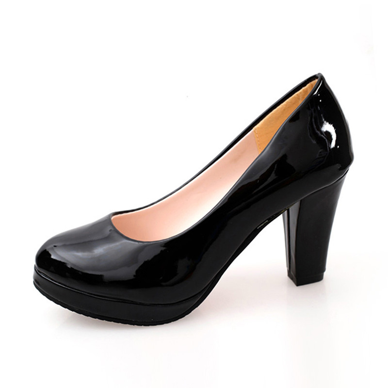 Sexy Profonde Chaussures Et Plate Casual Femmes Beige Des Carrière noir Cm forme Rond Été Bureau 9 Pompes Bout Peu rouge Haute blanc Talon Épais Talons Ym U6q8OwxO