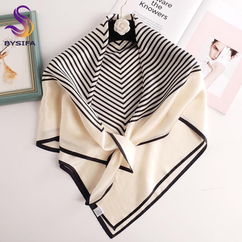 [BYSIFA] Women Black White Striped <font><b>Scarves</b></font> Fashion New Brand Luxury 100% <font><b>Silk</b></font> <font><b>Scarf</b></font> Punched 90*90cm Large <font><b>Square</b></font> Head <font><b>Scarves</b></font> image