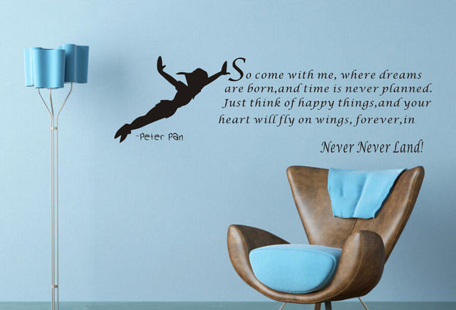 2016 Peter Pan Wall Decal Art Sticker Decor Quote Vinyl Never Never Land  Kids Children Wall Stickers Mural Home Decal 110*36cm