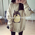 2017 new spring loose plus size women coats harajuku cute totoro sweatshirt women survetement pullover velour tracksuit