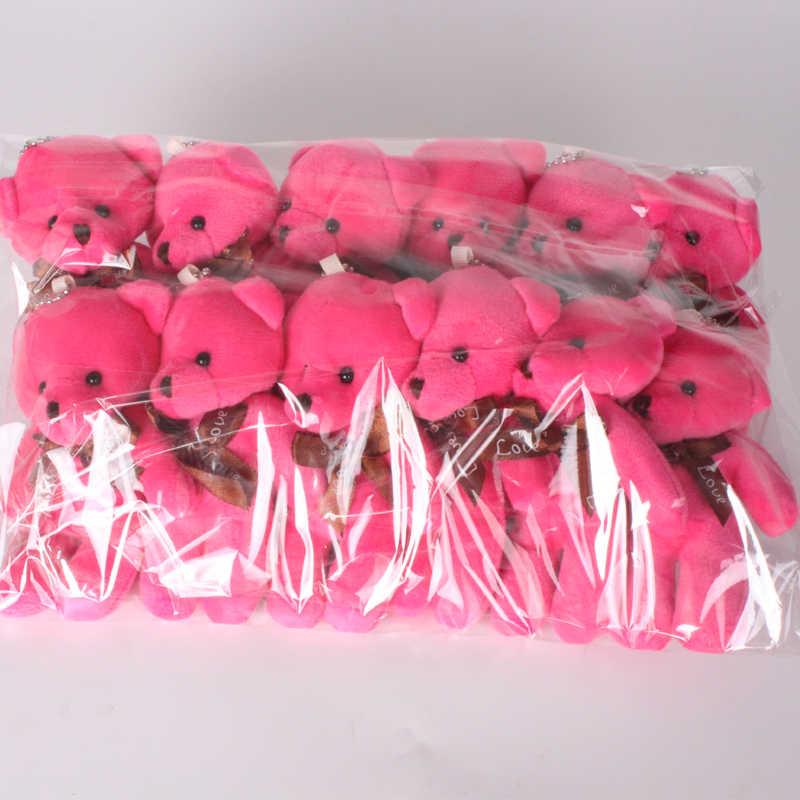 12 pçs/lote 11 centímetros Muitas Cores Wedding Bouquet de Mini Ursinho de Pelúcia Bonecas de Brinquedo de Pelúcia Urso de Peluche Bonito para o Partido pequeno Pingente