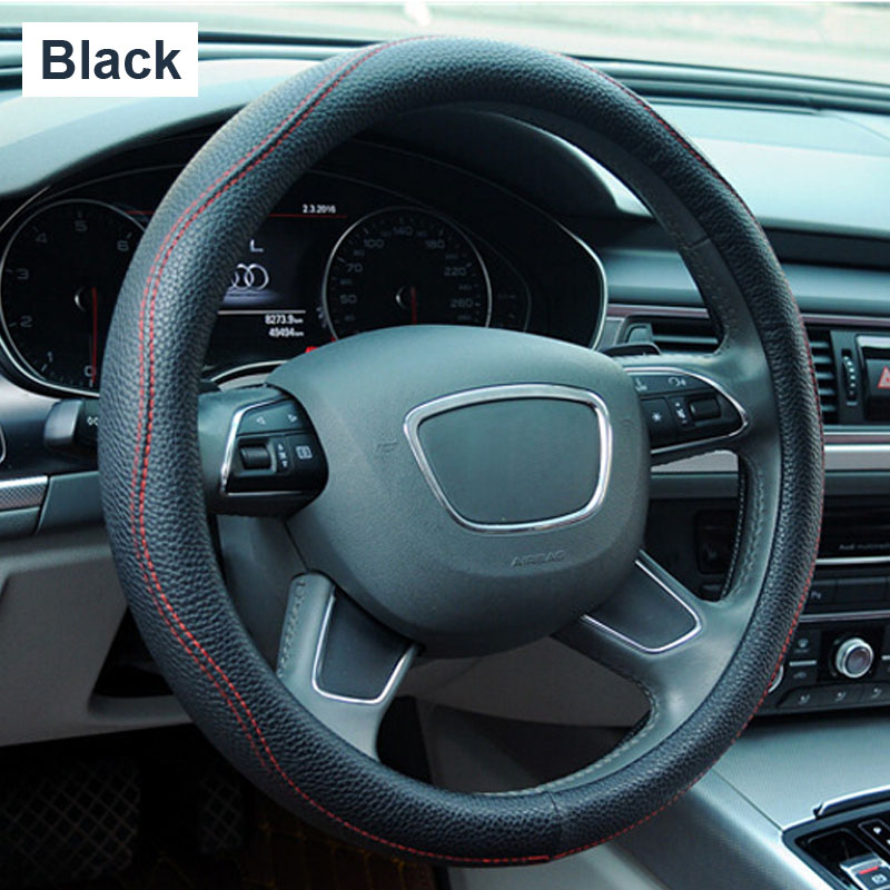 General Genuine Auto Common Hot For Car Styling leather Steering Wheels Covers new 38cm accessories Helm