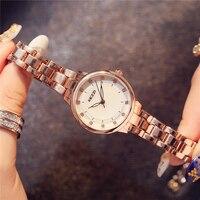 KEZZI Women Wristwatch 2017 Luxury Brand Rhinestone White Dial Casual Ladies Clock Silver Rose Gold Bracelet