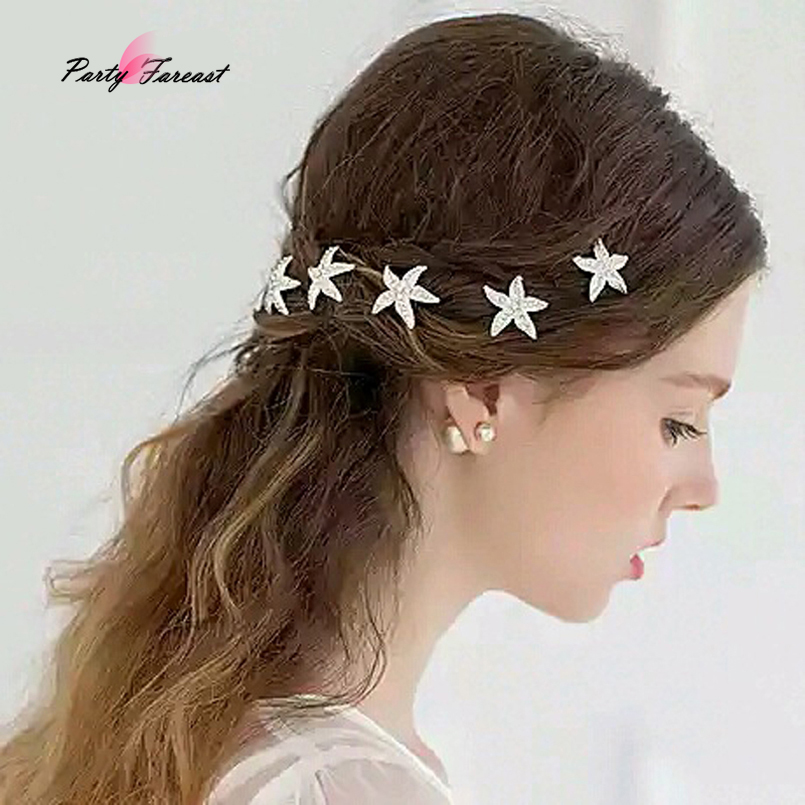 PF 5pcs Bride Headdress   Headwear   Rhinestone Starfish Hairpins Hair Clips for Women Girls Cute Hairpin Hair Accessories TS0872