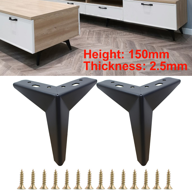 4pcs Metal Furniture Table Legs Parts H=150mm Sofa Chair Leg Trident Shape Black Sofa Leg Thickness 2.5mm With Mounting Screws