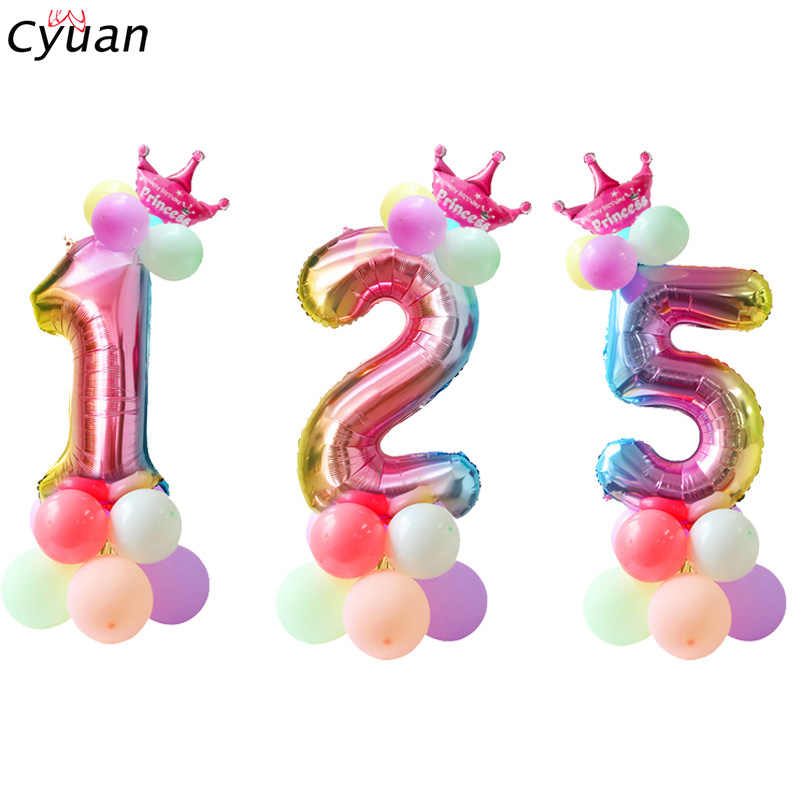Cyuan opalizujący kolor tęczy 0 1 2 3 4 5 6 7 8 9 numer balony 32 cal cyfrowy cyfrowy balon foliowy dekoracje na przyjęcie urodzinowe kulki
