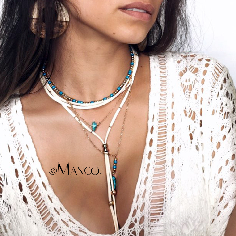 eManco Wholesale Korean Velvet Charming Chain Layering Necklace Beads Making Blue Stone Necklace 2018 New Arrivals Jewelry emanco multi layered necklace crystal beads chain vintage old coin pendant necklace 2018 new arrivals for women fashion jewe