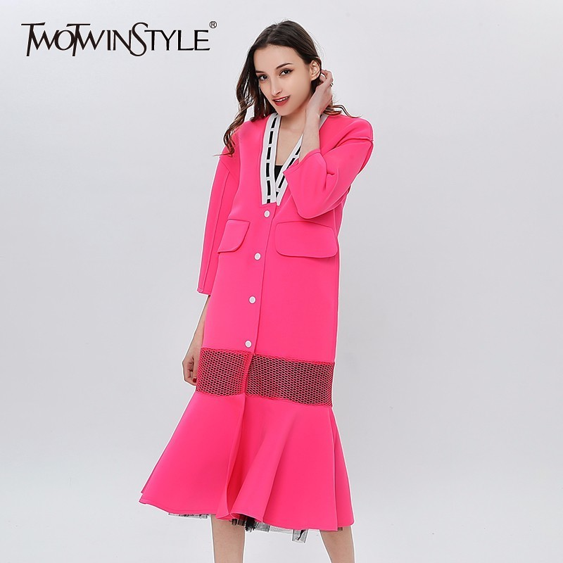 TWOTWINSTYLE V-neck Long Trench Coat Female Patchwork Mesh Ruffle Mermaid Womens Windbreaker Casual Clothes Korean Large Size