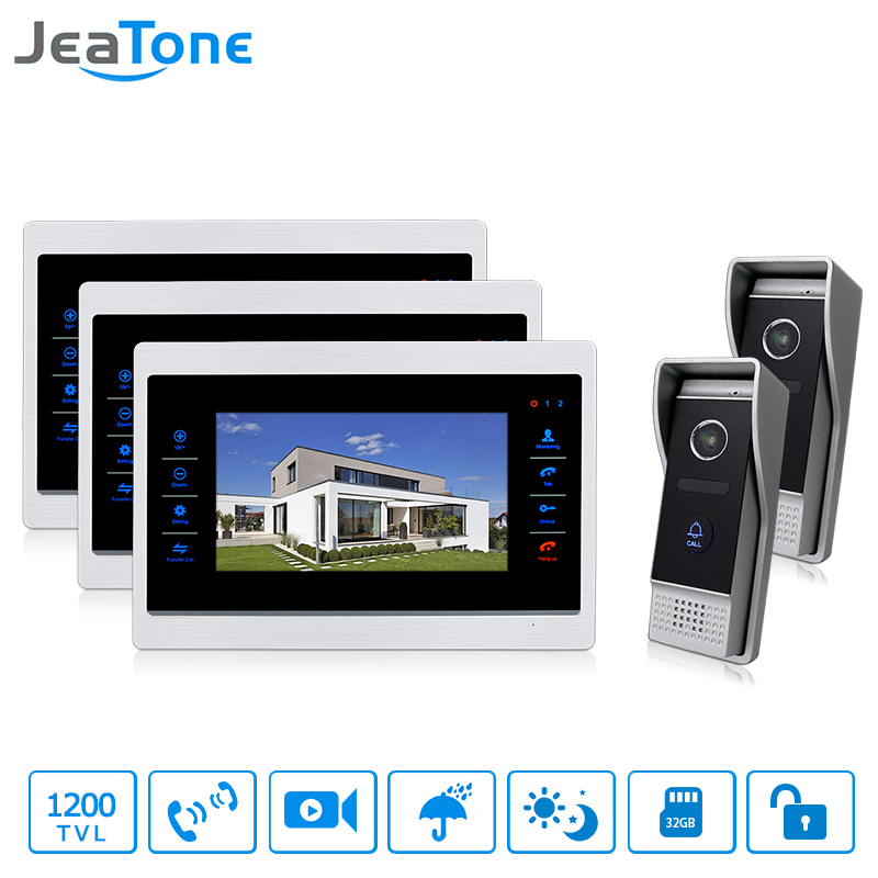 JeaTone Wired 7  Touch-Button Video Door Phone 2 Night 1200TVL Cameras with 3 Monitor Video Intercoms for a Private House