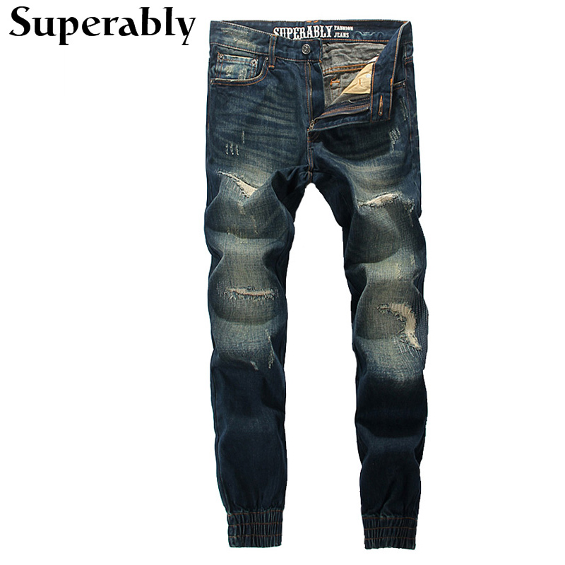 Superably Brand Jogger Jeans High Quality Destroyed Ripped Jeans Mens Pants Dark Color Denim Stripe Jeans Casual Trousers Male 2017 new hiphop men hole jogger pants high quality casual destroyed skinny ruched jeans hole casual pants jogger rock jeans