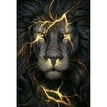H1367 Даймонд живопись,вышивка стразами,алмазная вышивка Черный лев