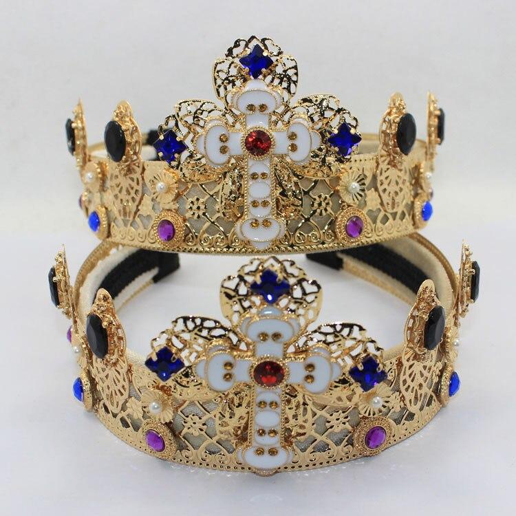 تيجان ملكية  امبراطورية فاخرة -font-b-Designer-b-font-women-sapphire-crystal-crown-metal-Relief-hollow-wide-cross-headband