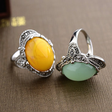Vintage Antique Silver Plated Green Aventurine Natural Stone Women Men Rings Carved Design High Quality Jewelry Mom Gift