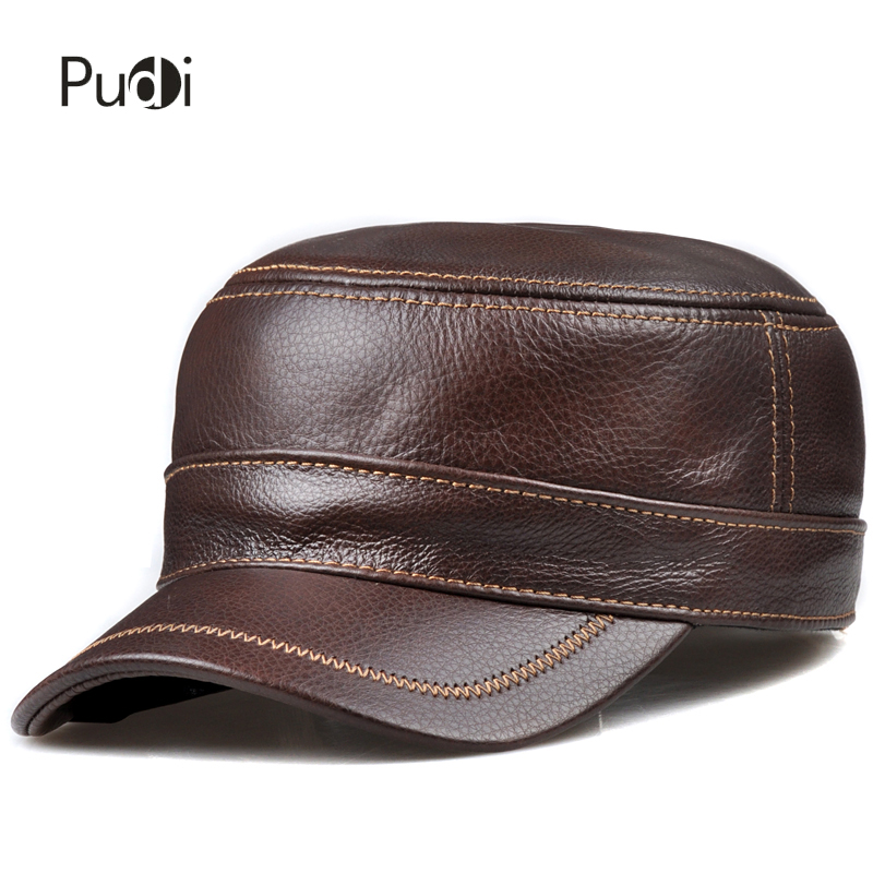HL175 Men's genuine leather baseball cap hat real cow skin leather hat brand new adjustable army caps hats aorice winter genuine sheepskin leather hat brand new men s warm earmuffs hat man baseball caps leisure fashion brand hats hl030
