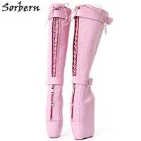Sorbern Sexy Pink Shiny No Heel Platform Bootie Women Extreme Hi Heel Keys Locking Zip Beginner Ballet Wedge Boots Fetish 2018