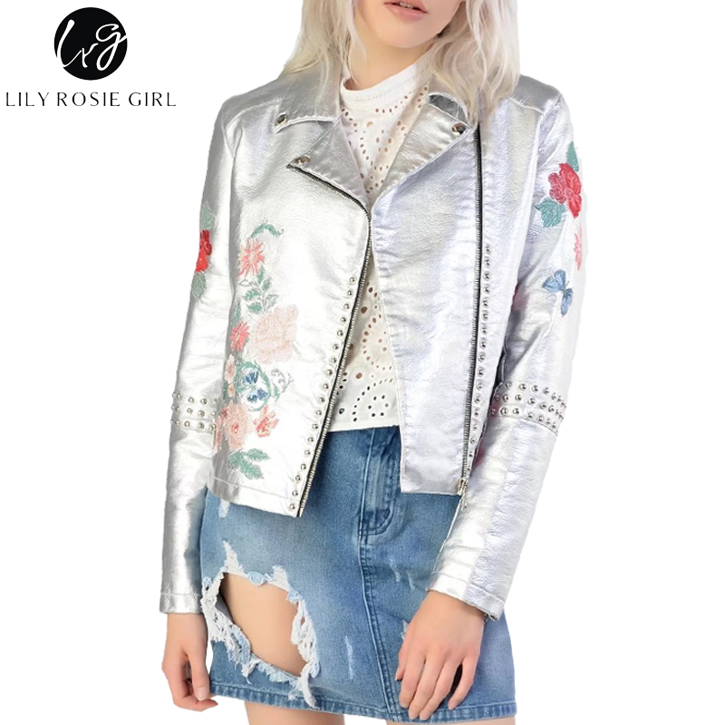 Lily Rosie Girl Embroidery PU Leather Coat Zipper Black Silver 2017 Autumn Winter Jacket Women Coats Streetwear Cool Outerwear