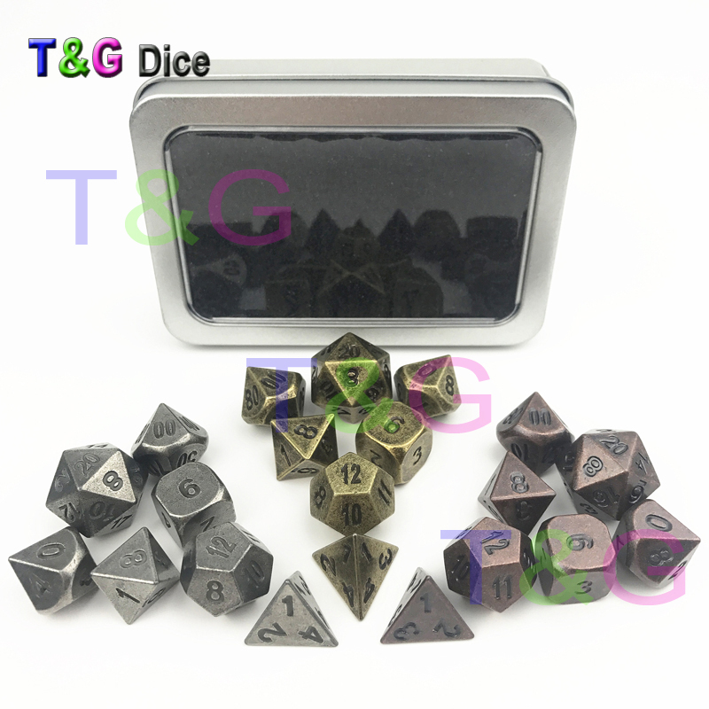 3 Sets of Ancient Style Metal Dice Dnd  Rpg Board Game with Iron Boxes for Collection/Birthday Gift
