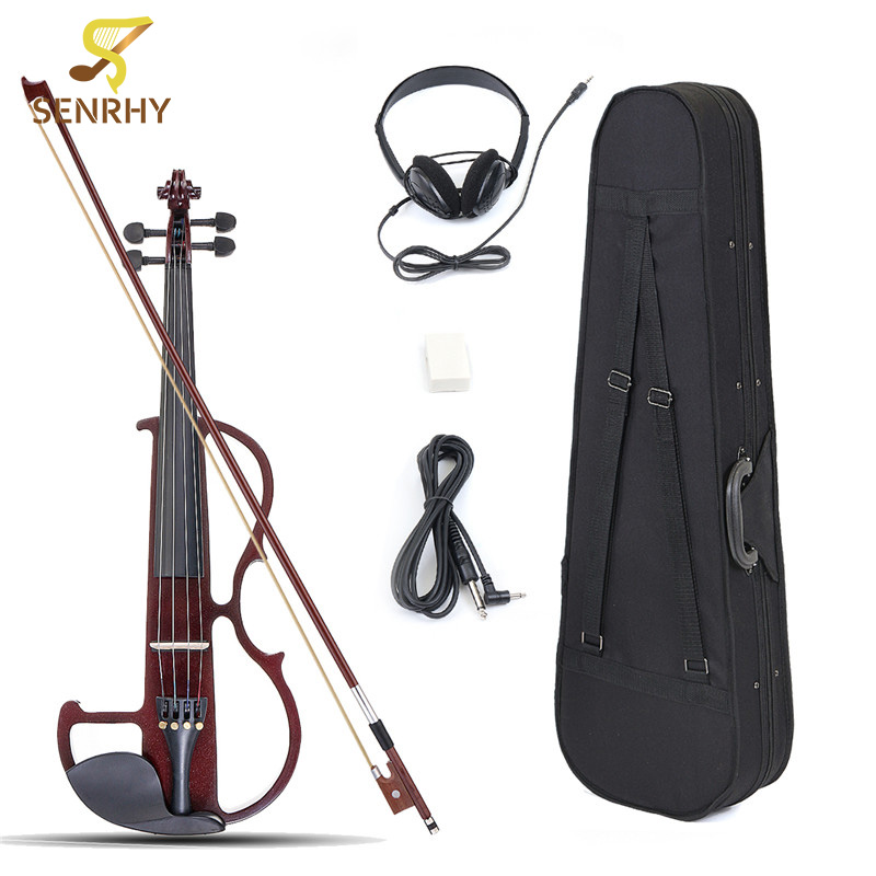 New 4/4 Electric Violin Basswood Panel Aluminum Alloy String With Headphone Case Rosin Connecting Line 4 Colors Hot Sale 4 4 high quality 5 string electric violin yellow 2 pickup violin
