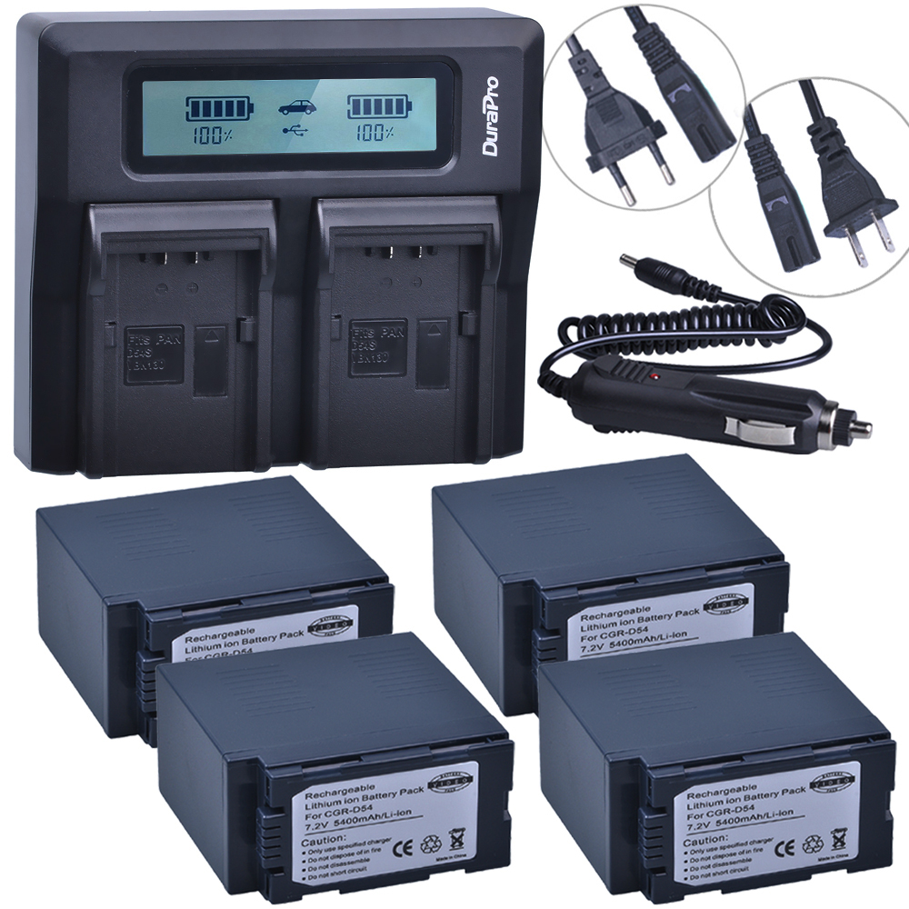 4 X 5400mAh CGA-D54 CGA D54 D54S Bateria + Ultra Fast LCD Dual Charger for Panasonic CGA-D54S CGA-D220 CGA-D320 CGA-D54 Battery hot 1pcs cga du21 cga du21 li ion camera battery charger car charger for panasonic cgr du06 cga du06 du12 cga du21 pv gs35