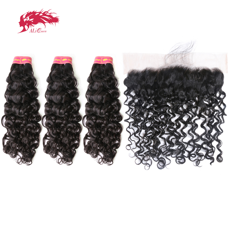 Ali Queen Hair Products Brazilian Water Wave Virgin Human Hair 3 Bundles With 1Pcs 13x4 Lace Frontal Closure With Baby Hair