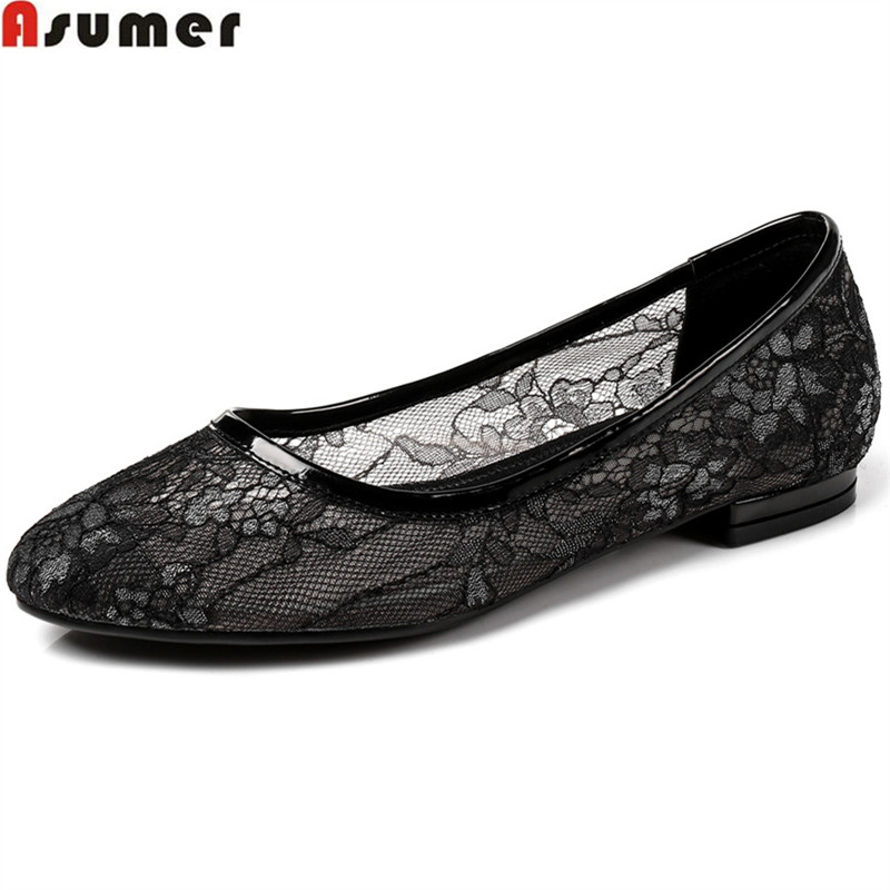 ASUMER black apricot fashion round toe shallow casual flat shoes woman comfortable lace women flats big size 33-43 women casual slip on flats fashion ladies casual flat shoes new women s round toe shallow mouth flats big size 34 47 ballerinas