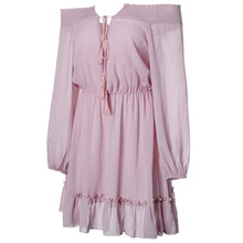 дешево!  Летнее платье женщины твердые без бретелек шифон сладкое платье фонарь рукавом свободный пляжное пл