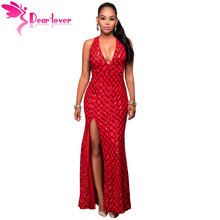 Dear Lover Sequin Long Party Formal Dress Sexy Red Gold Diamond Key-hole Back Slit Gown vestido de noche robe de mariage LC61314
