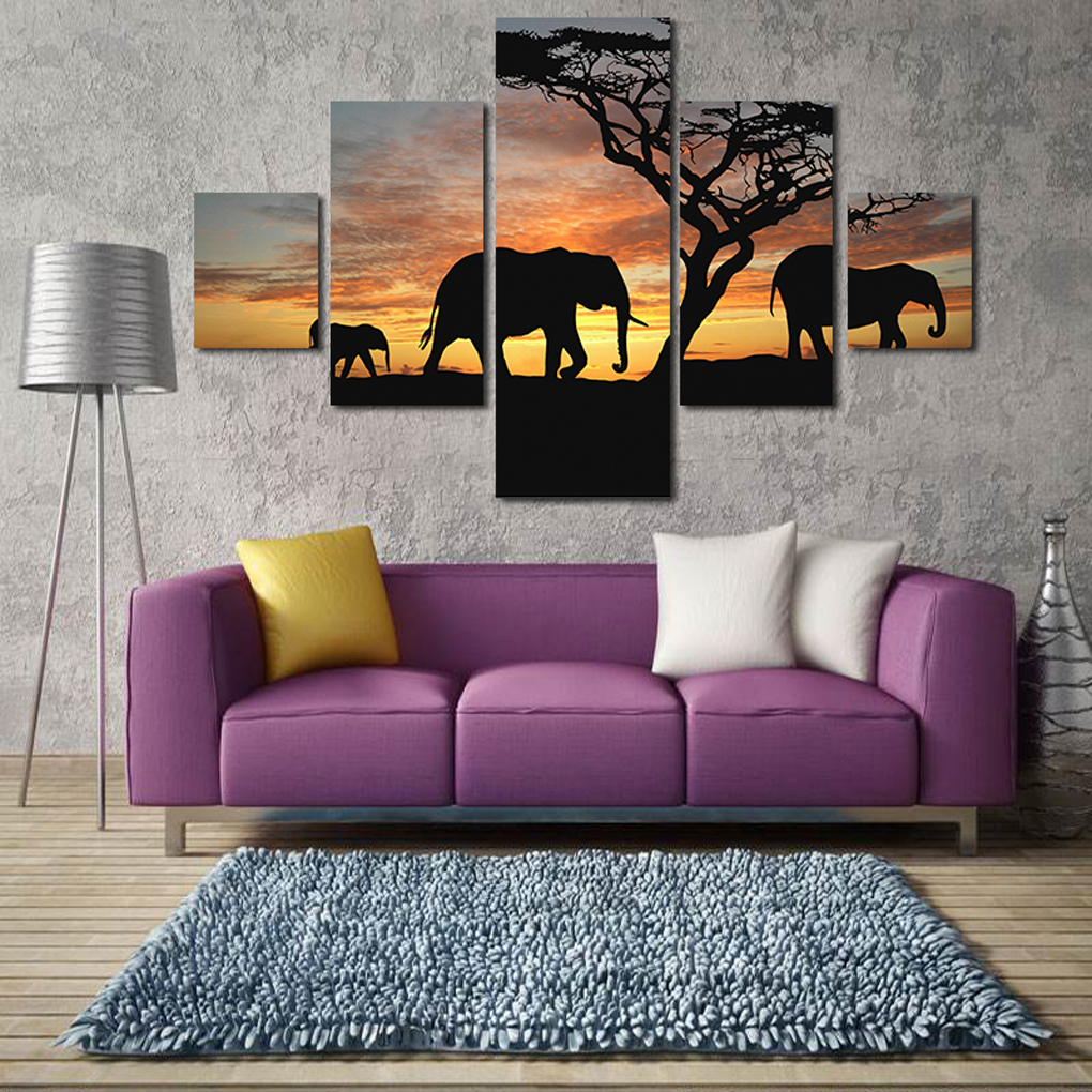 2017 Newest Christmas Decorations For Home S/L Size 5 Panel Modern Printed 3 Elephants Sunset Tree Oil Painting Wall Art Decor