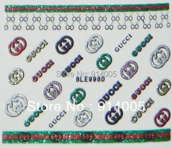 3D beauty nail sticker nail glitte sticker sexy&brand name design 12designs/sheet