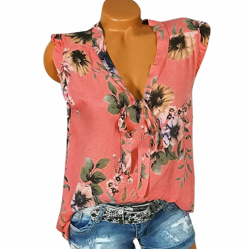 סתיו 5XL בתוספת גודל נשים הקיץ ללא שרוולים V צוואר פרחוני הדפסת Loose חולצות מקרית תחרה אופנה חולצות חולצות חולצות