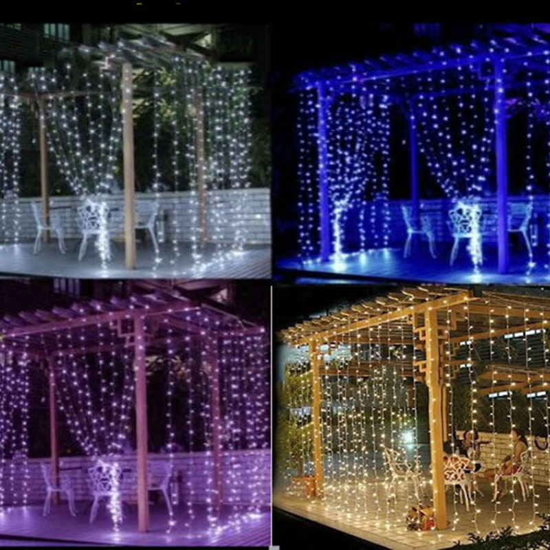 3m x 3m christmas starry patio copper wire outdoor led string lights wedding curtain lights fairy - Outdoor Led String Lights