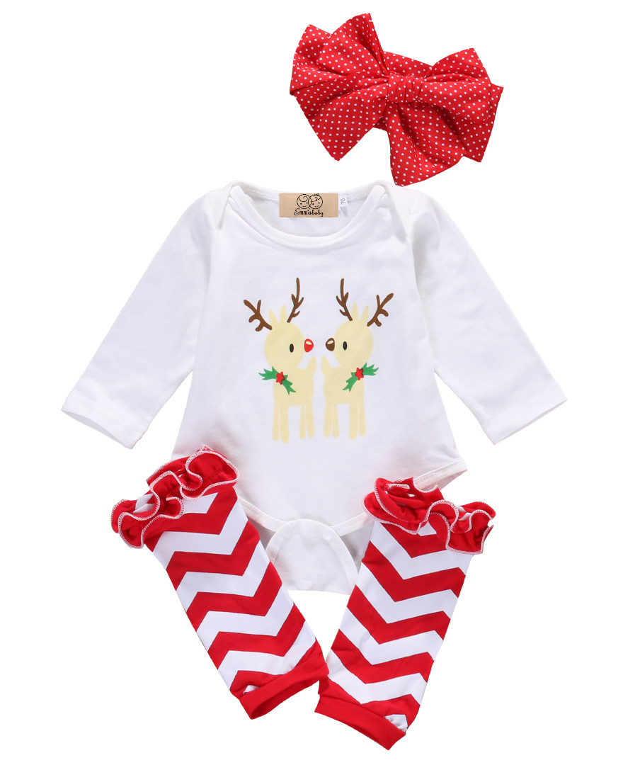 Cute baby Girl clothes Set Christmas Clothes long sleeve baby bodysuits+Ruffle Leg Warmers + headband 0-18M baby clothing sets pink newborn infant baby girls clothes short sleeve bodysuit striped leg warmers headband 3pcs outfit bebek clothing set 0 18m
