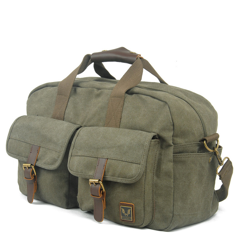 Vintage Retro Military Canvas Leather Men Travel Bags Luggage Bags Men Bags Leather Canvas Bag Tote Sacoche Homme Marque aosbos fashion portable insulated canvas lunch bag thermal food picnic lunch bags for women kids men cooler lunch box bag tote