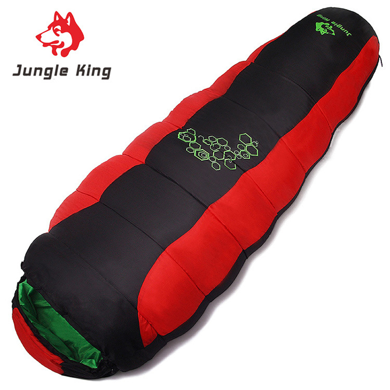 Jungle King Mummy Four Hole Cotton Filling Sleeping Bag Adults Camping Hiking Trekking Blue Grey Red