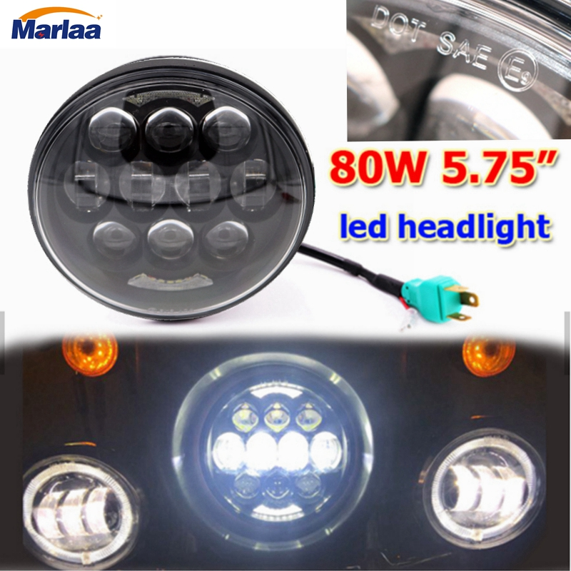 5.75inch Motorcycle Headlamps 80W Led Headlight Hi/Lo Beam With White DRL for 5 3/4 H4 H13 Led Headlight